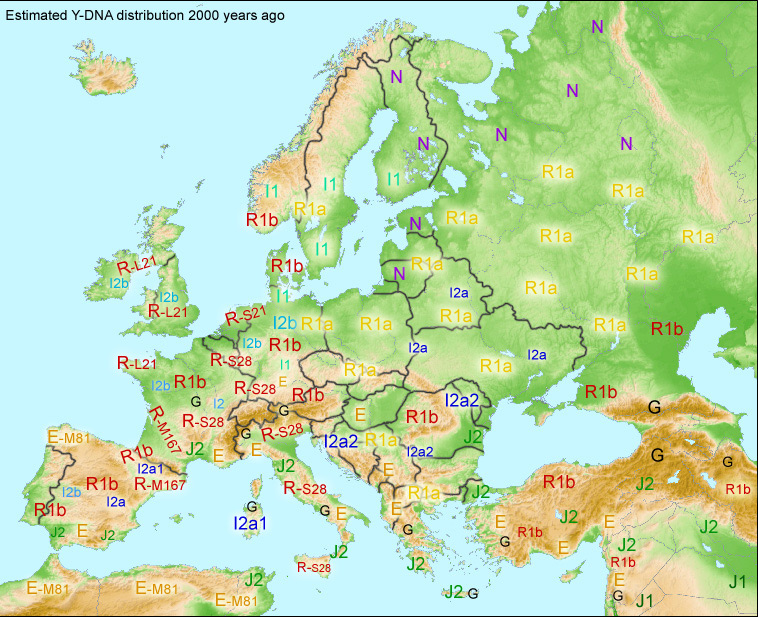 Suggested map of Y-DNA distribution in Europe around 100 CE