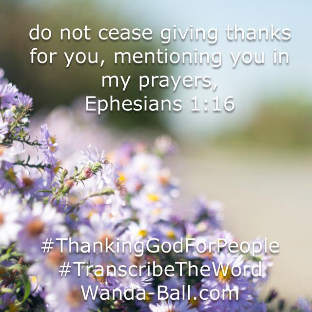 thank god for people Ephesians 1-16