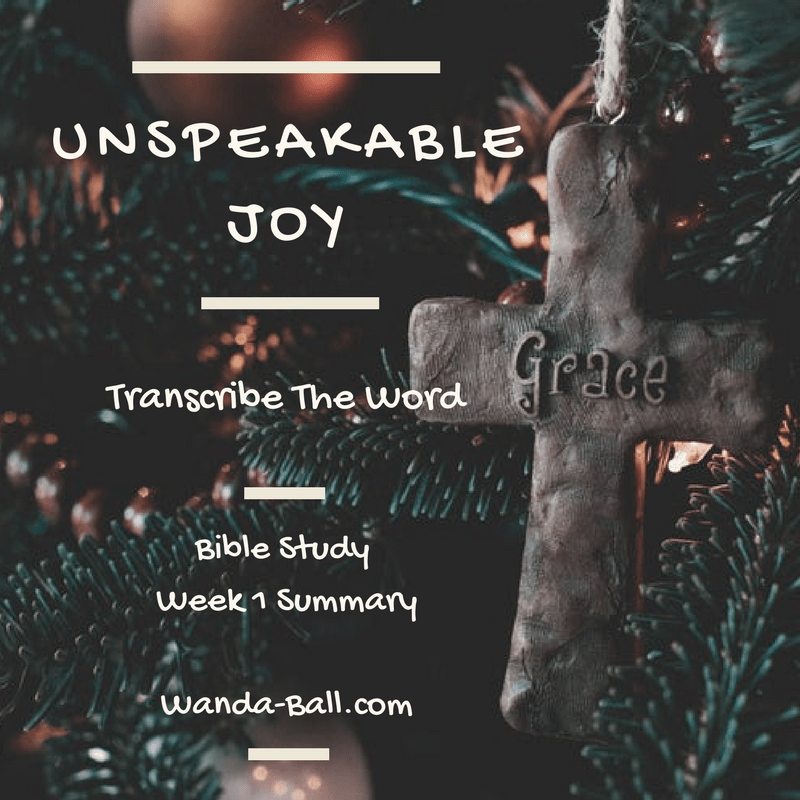 Unspeakable Joy Week 1 summary