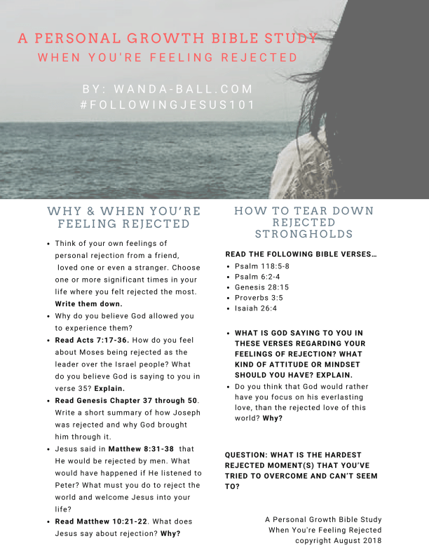 a personal growth bible study when you're feeling rejected by Wanda-Ball.com