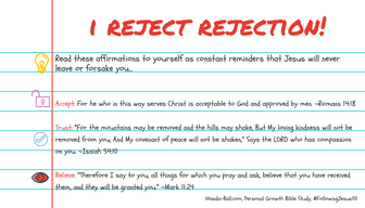 I reject rejection bible study card reminder