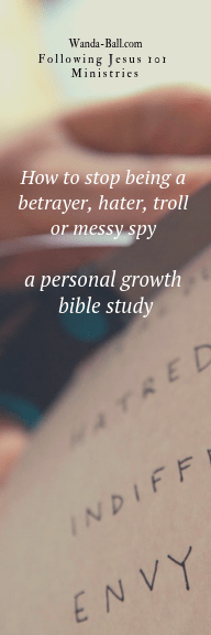 How to stop being a betrayer, hater, troll or messy spy - a personal growth bible study bookmark front