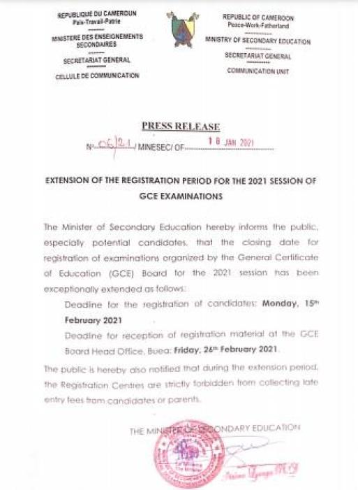 extension of gce registration deadline 2021