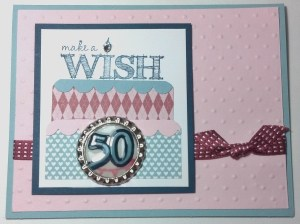 I made this card for my friend Michele's 50th Birthday! Make a Wish Stamp Set from Spring Catalog (129222), Soda Pop Tops Spring Catalog (129388), Pink Pirouette Card Stock (111351)