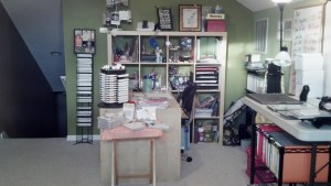 This is the entrance from the stairs and my desk where I stamp all night long!