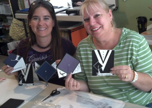 Holley and Karletta with their finished cards.
