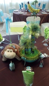 Here is one of the table centerpieces in green.
