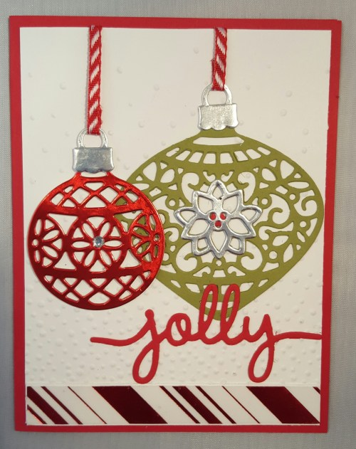 This card was inspired from the Holiday Catalog on page 14. I just added an extra touch of color