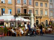 Lunch on the market square in Warsaw.