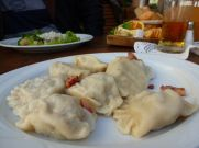 Pierogi lunch in Warsaw's Old Town.