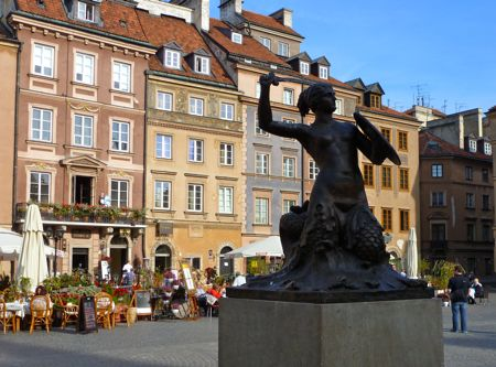 Warsaw Old Town and the iconic mermaid.