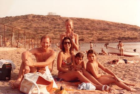 On the beach in Greece with friends.