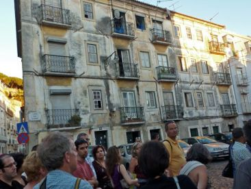 Our group explores the Mouraria neighborhood.