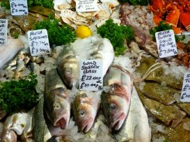Borough Market fish, London.