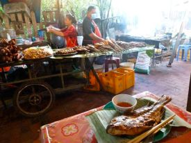 My fish dinner Luang Prabang night market.