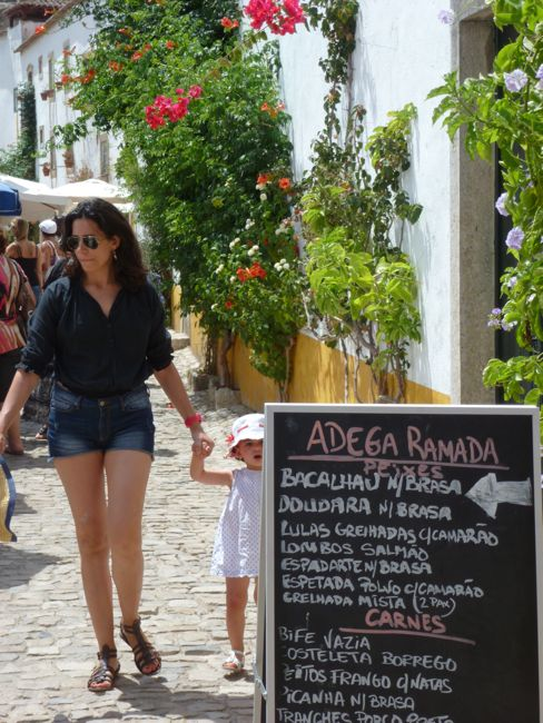 Lunchtime in Obidos, Portugal.