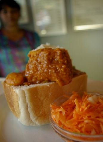 A traditional Durban bean bunny chow.