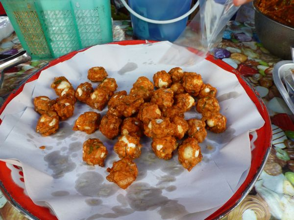 My quail eggs fried in fish batter from the Nai Yang farmers market.