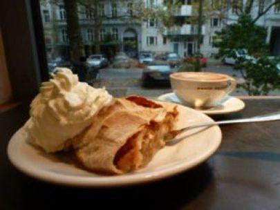 Apple streudel and coffee Berlin
