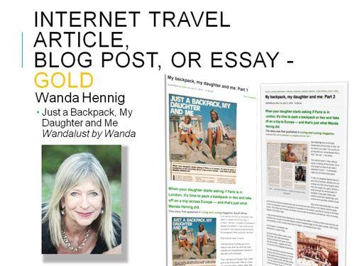 Award-winning story Bay Area Travel Writers.