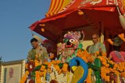 Colorful Hare Krishna chariot float.