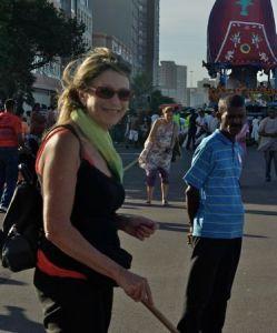 Hare Krishna parade with travel blogger Wanda Hennig