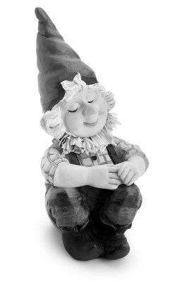 Sitting Gnome isolated with clipping path. toy