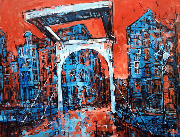 schilderij-amsterdam-centrum-staalstraat-rood