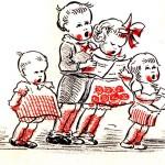 Pentekening plaatje waar 4 kinderen staan te zingen.