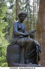 Standbeeld, van, de, muze, van, poëzie, in park, van, pavlovsk, Saint-Petersburg, rusland