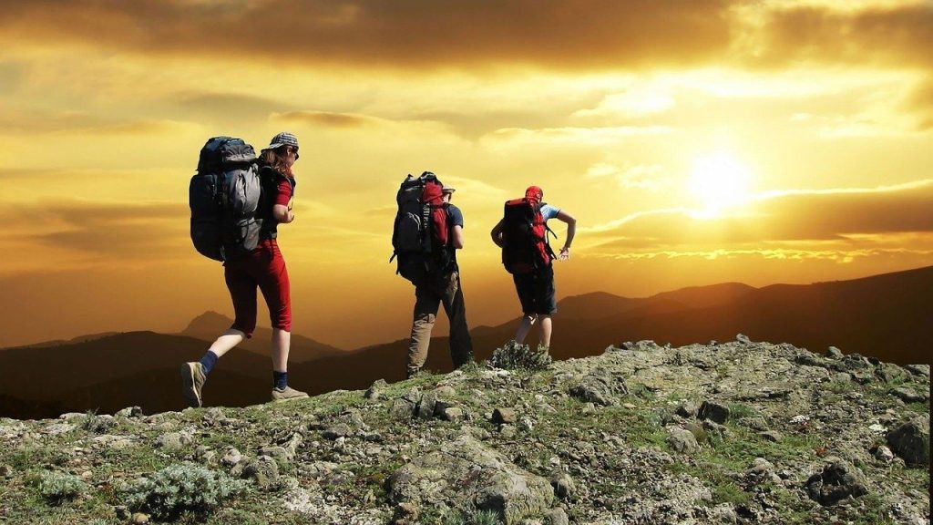 hikers, mountain, sunset