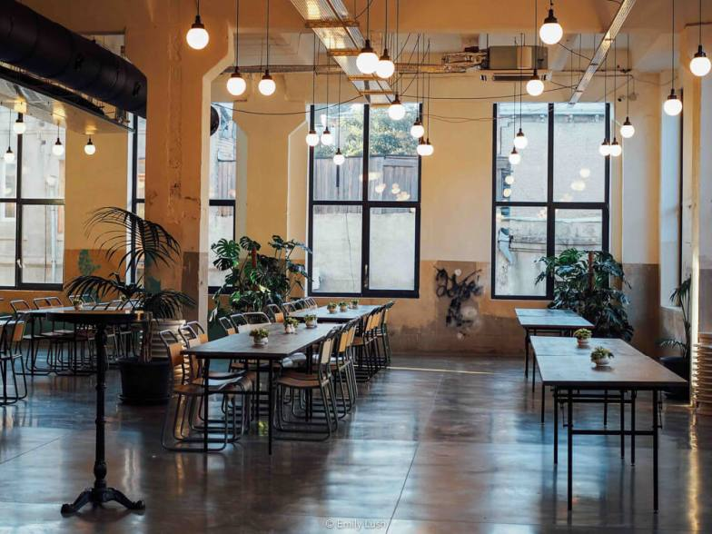 The light-filled dining room at Fabrika Tbilisi.