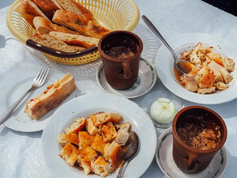 A white table spread with Azeri food.