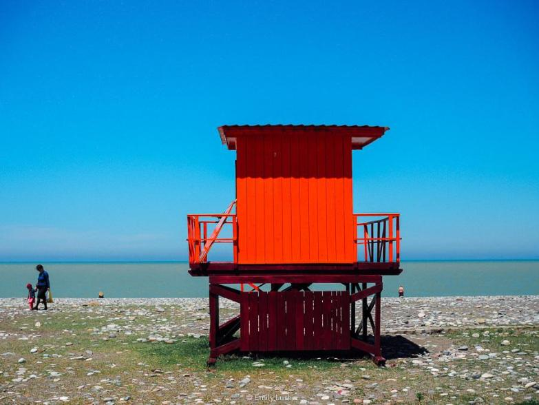 A red shack on the beach in Batumi, Georgia.