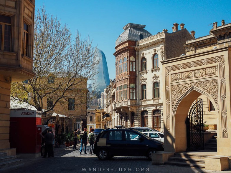 Stone buildings in Baku, Azerbaijan.