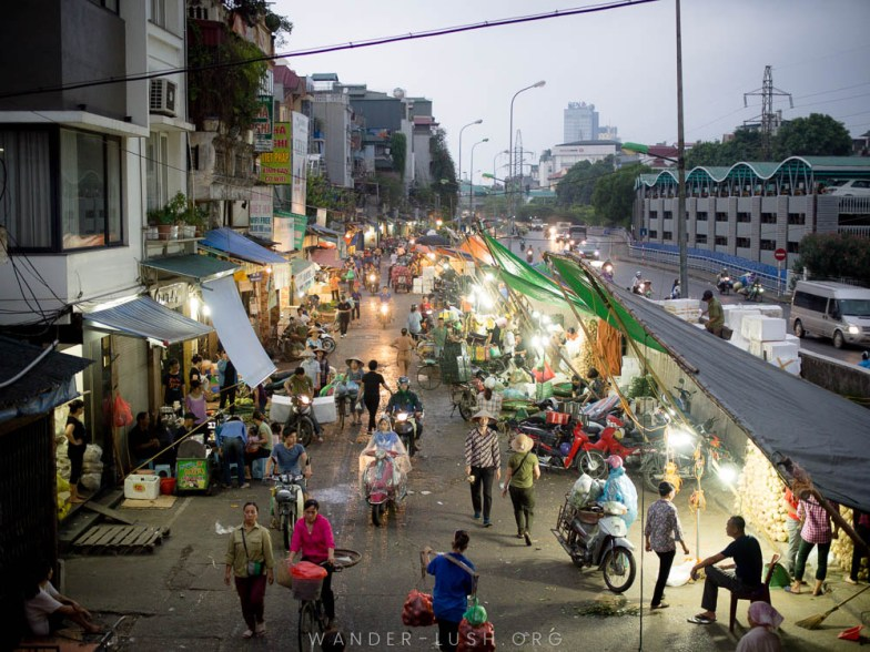 Looking for something a bit different (and local) to do in Hanoi, Vietnam? Here's everything you'll need to plan a visit to Quang Ba Flower Market and Long Bien Market—with sunrise over Long Bien Bridge, Dong Xuan Market, and breakfast in Hanoi Old Quarter thrown in.