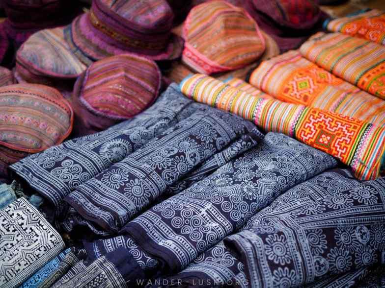 Beautiful textiles for sale at a market near Sapa, Vietnam.