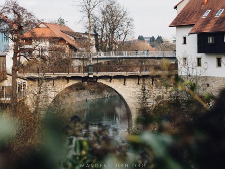 A stone bridge in Skofja Loka, Slovenia.