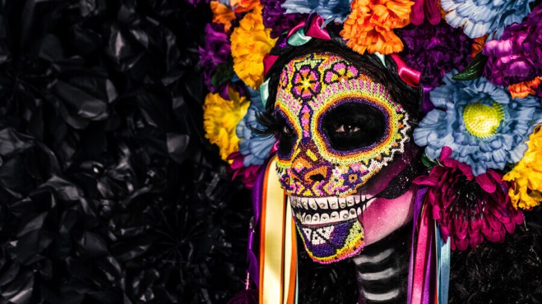 An ornate Day of the Dead mask.