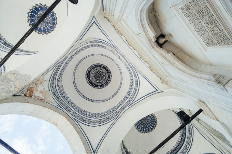 Painted domes of Mustafa Pasha's Mosque.