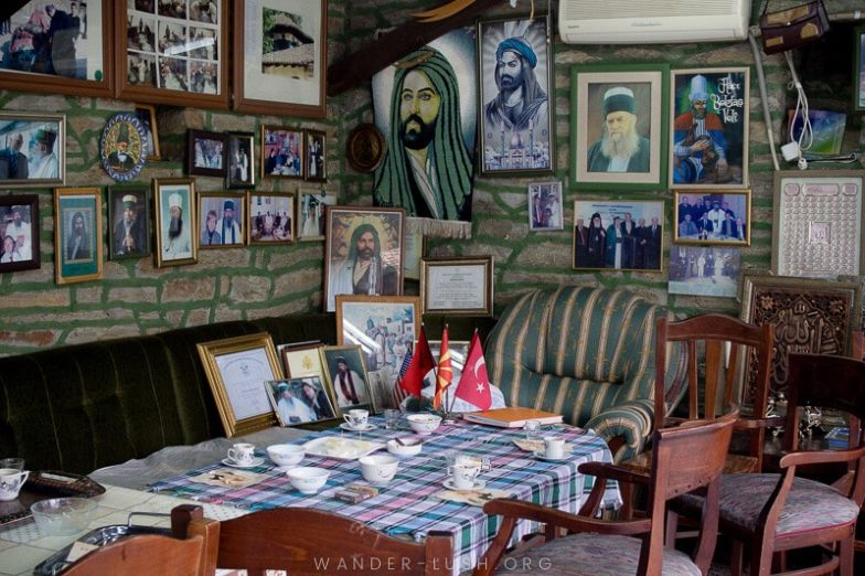 Looking for an easy day trip from Skopje? Here's how to visit 2 of the country's top religious sites, Tetovo Mosque & Arabati Baba Teke, by bus | A room inside Arabati Baba Teke. The teke is known to take visitors – you never know, they might have a room available!