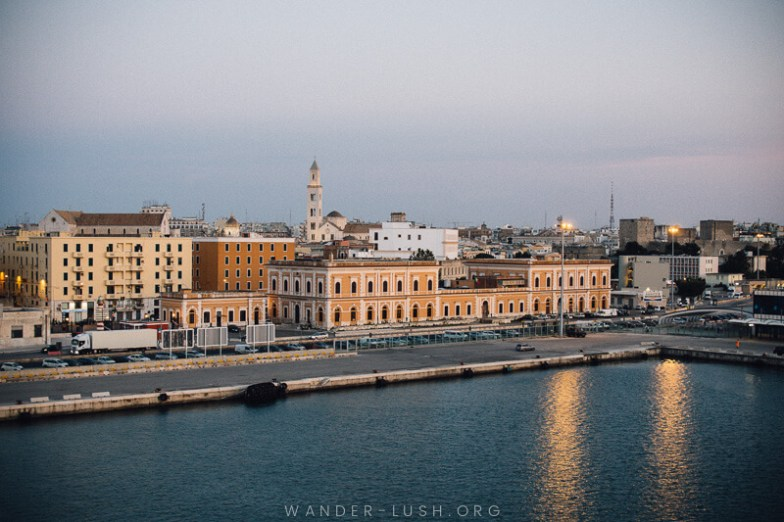 Bari at sunset – view of Bari from the Bari Durres ferry deck.