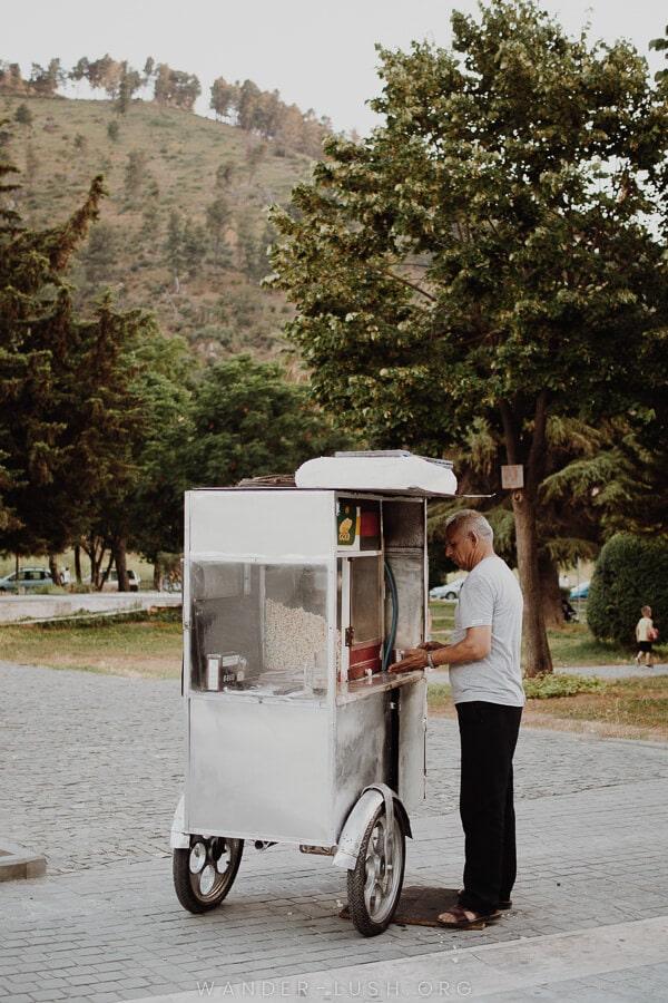 A popcorn vendor.