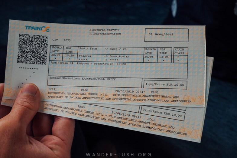Our Florina Thessaloniki train tickets.