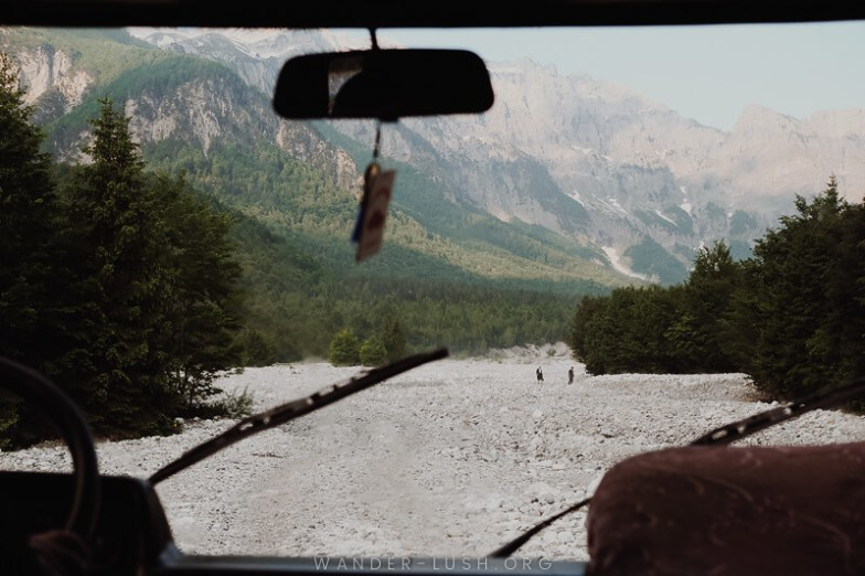 Driving to the trailhead for the Valbona Theth hike.