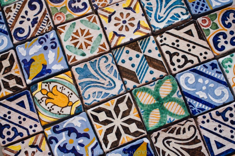 Colourful square tiles.