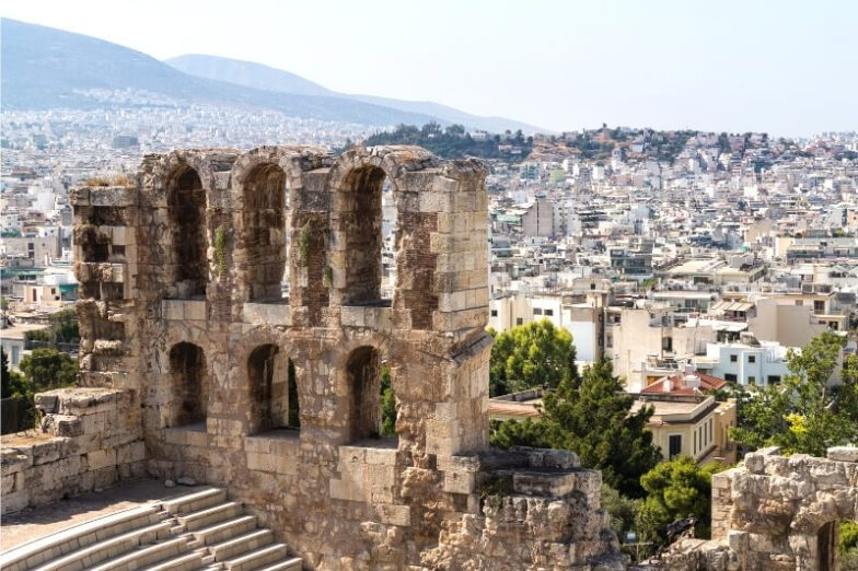 Park of an ancient structure high above the city of Athens.