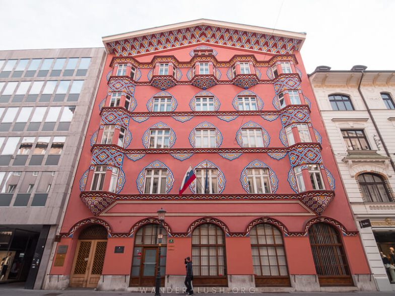 A beautiful pink facade in Ljubljana, Slovenia.