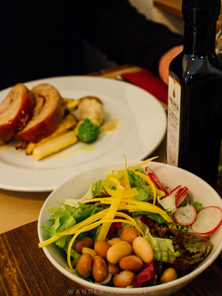 A bowl of salad at a restaurant in Ljubljana, Slovenia.