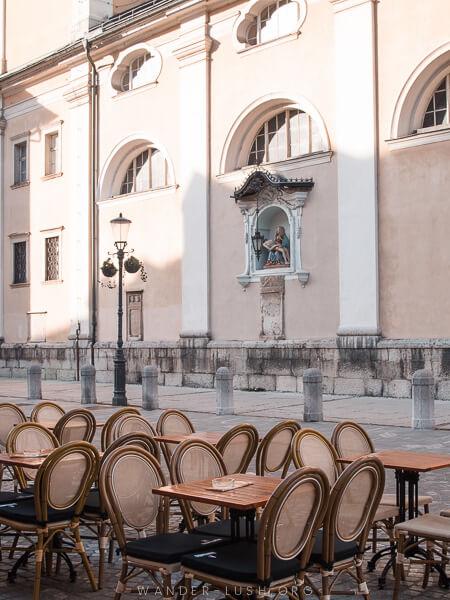 Cafe tables in Ljubljana.